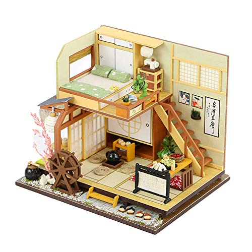 MIZUAN DIY Miniature Dollhouse Furnitures Kit Japanese Loft Duplex Apartment Mini Doll House with LED Lights and Music Movement Handmade House Puzzle Model Toy Best Birthday for Boys and Girls