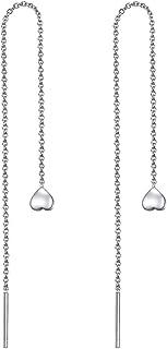 Threader Earrings 925 Sterling Silver Tassel Dangle Threaded Long Chain Earrings Ear Line for Women