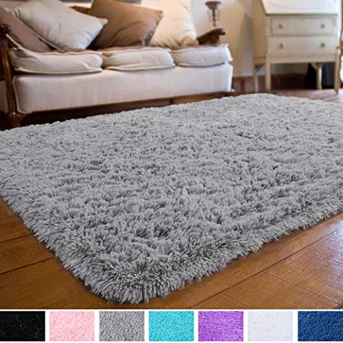 Soft Fluffy Shaggy Kids Room Nursery Rug Warm Area Rugs Bedroom Living Room Carpet Hypoallergenic, Washable and Nonslip Safer for Children Room Decor Baby Floor Playmats Crawling Mat, 4 x 6 Feet Grey