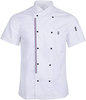 Prettyia Breathable Summer Chef Jackets Coat Short Sleeves Kitchen Uniforms Food Service Work Apparel - White, M