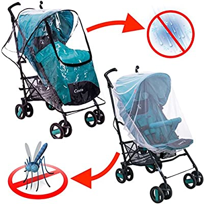 Stroller Rain Cover and Baby Mosquito Net (2-Piece Set) Waterproof, Windproof Protection - Travel-Friendly, Outdoor Use - Easy to Install and Remove