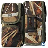 AH Military Grade Cell Phone Hunting Camo Phone Holster, Pouch Belt Clip for [iPhone 6 6S 7 8 X XR XS 11 Pro 12 Pro(4.7'')] S20 Kyocera DuraForce Android Canvas Fits Phone w/Otterbox (Medium)