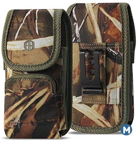 Military Grade Cell Phone Camo Case, Outdoor Carry Pouch Belt Clip Compatible w/ [iPhone 6 6S 7 8 X XR XS (4.7'')] Galaxy S20 Kyocera DuraForce Rugged Canvas Holster Fits Phone w/Thick CASE (Medium)