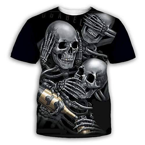 RKWEI Herren T-Shirt 3D Totenkopf Kartendruck Frauen Kurzarm Tops Bluse Tee Persönlichkeit Neuheit Casual Sommer schnell trocknend Jungen und Mädchen XXL mehrfarbig