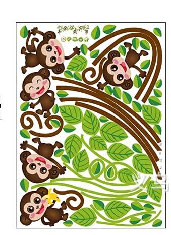 HENJIA niños Mono árbol de la Selva DIY Creativo Pegatina de Pared Desmontable calcomanía artística para habitación de niños Pegatina Decorativa de Pared de Dibujos Animados