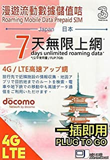 Japan Docomo Network Unlimited Data Sim / 7GB 4G LTE High Speed Data for 7 Days, Plug and Play Unlimited Roaming Prepaid SIM