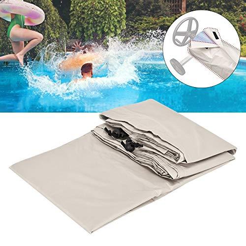Wifehelper Zwembad Cover, Waterdichte Beige Open Air Zwembad Roll Cover Protector Grond Zwembaden Cover voor Outdoor Heavy Duty Garden