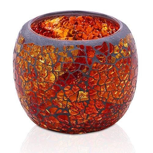 Larcenciel Teelichthalter Teelichtaufsatz aus Glas Glasaufsatz für Kerzenleuchter - Kerzenständer - Adventskranz (Gold)