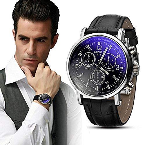 Yogogo Herren Quartz Analog Ray Armband, 1 Cent Artikel Armbanduhr | Lederband | Dekoration | Sportuhr | Geschenk | Alugehäuse | Quarzwerk | 24cm Bandlänge (Schwarz)