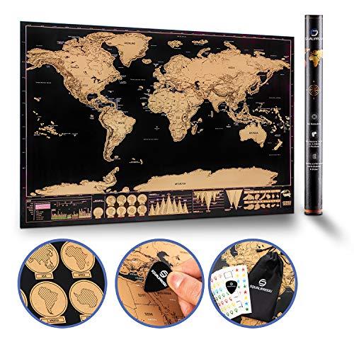 SQUALIPRODU ® Weltkarte - Rubbel Weltkarte [60x80cm] mit verschiedenen Stickern zum Markieren - inklusive Chip zum Rubbeln und Aufbewahrungsbeutel