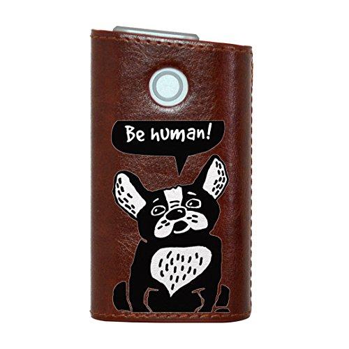 glo グロー グロウ 専用 レザーケース レザーカバー タバコ ケース カバー 合皮 ハードケース カバー 収納 デザイン 革 皮 BROWN ブラウン 犬 キャラクター 英語 010972