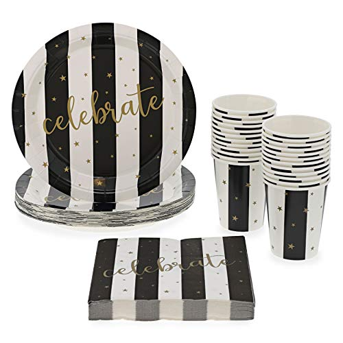 Celebratory Black and White Party Bundle, Includes Paper Plates, Napkins and Cups (Serves 24, 72-Pieces)