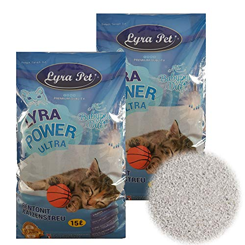 Lyra Pet® 30 Liter Lyra Power Ultra Excellent Katzenstreu Cat Babypuderduft Klumpstreu Pet
