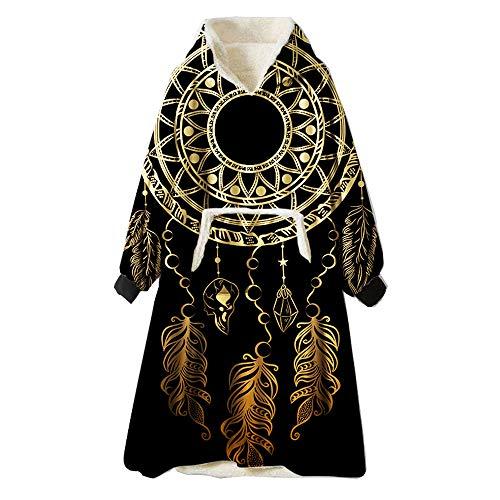 ZUICHU sweatshirt oversize, patroon A netstof lichtbruin zwart, mantel voor warme truien zacht unisex volwassenen tas voorkant (unisex) (één maat)