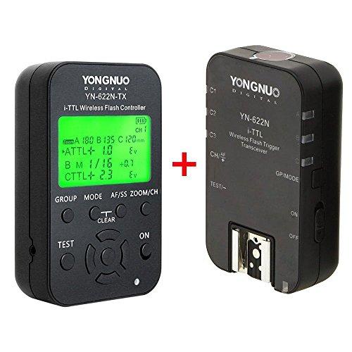 YONGNUO YN622N-KIT Wireless i-TTL Blitzauslöser mit LED Bildschirm für Nikon Kameras, (einschließlich YN622N-TX Controller und YN622N Transceiver) + NAMVO Diffusor