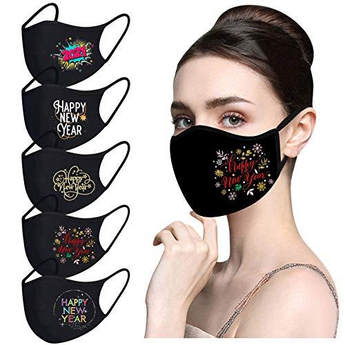 Zolimx Mundschutz Erwachsene mit 2021 New Year Motiv ṁɑşḱ Waschbar Wiederverwendbar Mund-Nasen Bedeckung Atmungsaktiv Multifunktionstuch Halstuch Schals