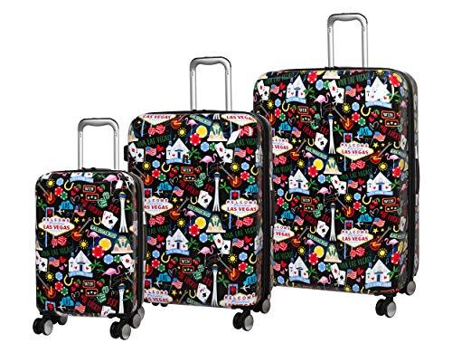 IT Luggage Sheen Hardside Expandable Spinner 3 Piece Set (Black Las Vegas Fun Icons)