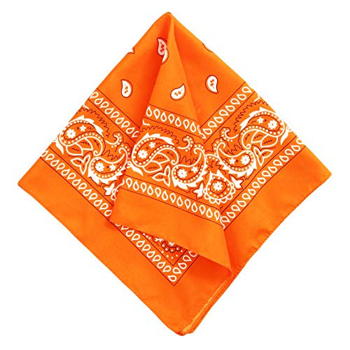 Bandana Handkerchief - Large/Jumbo Paisley Cowboy Bandana for Men & Women - Head & Face Wrap Scarf - 1 Pack Orange