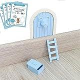 Myfuturshop® Raton Pérez Puerta mágica, Caja para el Diente, Escalera, 4 certificados de Diente Limpio. Regalo Original para niño y niña. Azul