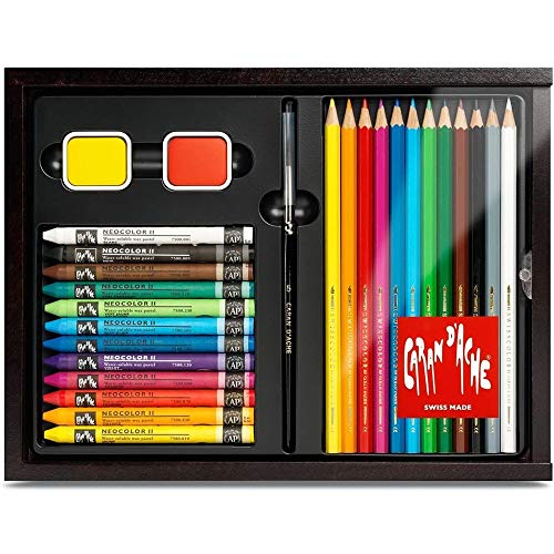Caran D'Ache 27pc Watercolor Pencil and Water-soluble Wax Oil Pastel Crayon Discovery Wood Box with Accessories- Box Set