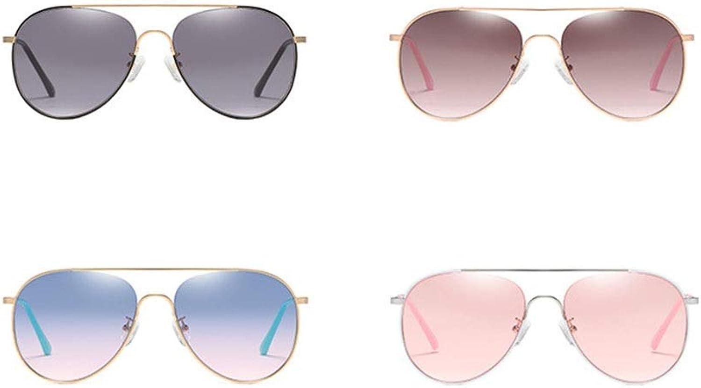 Women's Nylon Lens Sunglasses Fashion Pilots Mirrors Metal Frames Sunglasses (color   D)