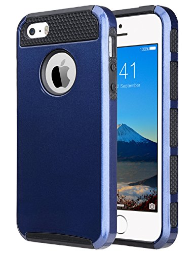 ULAK iPhone 5SE Case,iPhone SE Case, Slim Fit Dual Layer Case Shock Absorbing Hard Rugged Ultra Back Rubber Cover with Impact Protection for iPhone 5/5S/SE (Navy Blue+Black)(Not fit iPhone SE 2020)
