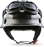 "Moto Helmets D33-Set ""Leather Black"" · Brain-Cap · Halbschale Jet-Helm Motorrad-Helm..."
