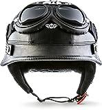 """Moto Helmets® D33-Set """"Leather Black"""" · Brain-Cap · Halbschale Jet-Helm"""