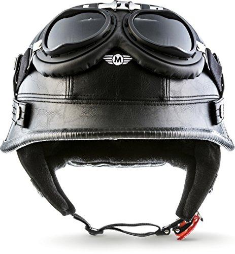 "Moto Helmets® D33-Set ""Leather Black"" · Brain-Cap · Halbschale Jet-Helm Motorrad-Helm Roller-Helm Scooter-Helm Bobber Mofa-Helm Chopper Retro Cruiser Vintage Pilot Biker Helmet Brille · L (59-60cm)"