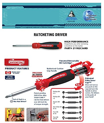 Megapro Marketing USA NC 211R2C36RD Ratcheting Screwdriver,Red