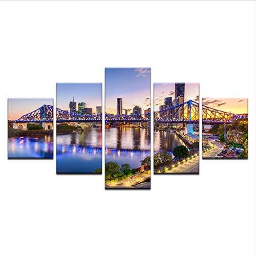 Wuwenw Wandkunst Bilder Home Decor Rahmen 5 Stücke Hd Gedruckt Sonnenuntergang Brisbane Geschichte Brisbane Australien Landschaft Leinwand Gemälde, 12X16 / 24/32 Zoll, Ohne Rahmen