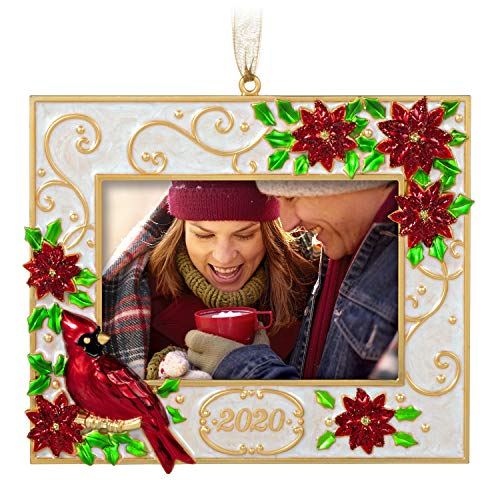 Hallmark Keepsake Christmas Ornament 2020 Year-Dated, Deck the Halls Poinsettias and Cardinal Photo Frame, Metal
