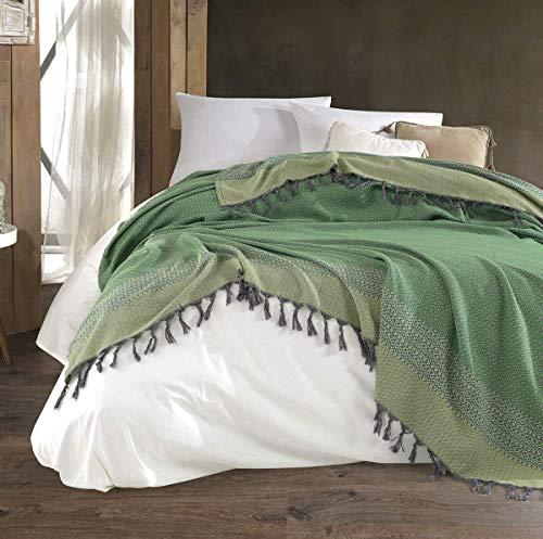 WSHFOR Artemis Tagesdecke Überwurf Decke - Wohndecke hochwertig - perfekt für Bett & Sofa, 100prozent Baumwolle - handgefertigte Fransen, 200x250cm (Schwarz) (Grün)