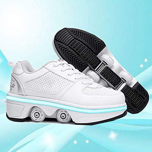 GKZJ Rollschuh Roller Skates Lauflernschuhe,Inline Skates Damen, 2-in-1-Mehrzweckschuhe, Verstellbare Quad-Rollschuh-Stiefel,Low-top-EUR34