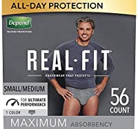 Depend Real Fit Incontinence Briefs for Men, Maximum Absorbency, S/M, 56 Count by Depend