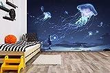 3D playa Niño cielo vuelo Japón Anime pared papel mural impresión murales de pared Papel tapiz Tela de seda Fondo Pared Papel Decoración-200X150cm(WxH)