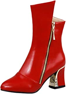 JOJONUNU Women Autoum Elegant Boots Block Heels