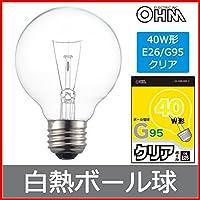 OHM ボール電球 G95 クリア LB-G9638K-C 06-0545