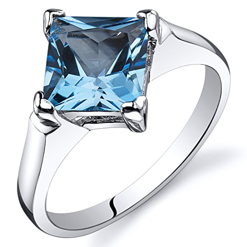 Peora Swiss Blue Topaz Engagement Ring in Sterling Silver, Classic Designer Solitaire, Princess Cut, 7mm, 2.00 Carats, Comfort Fit, Size 8 Comfort Fit Solitaire Setting