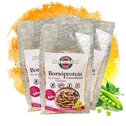 Proteína de guisante granulada / texturizada / para vegetarianos / veganos / para salsa bóloga, Chili non carne, hamburguesas y mucho más, paquete de 3 (100 g)