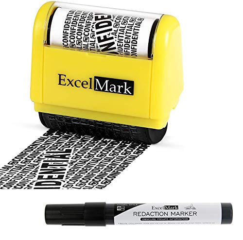 ExcelMark Rolling Identity Theft Guard Stamp (Roller Stamp and Redaction Marker)