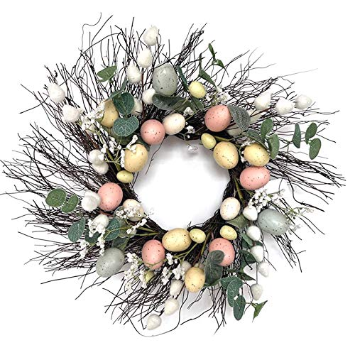 Vobery Wreath Easter Wreath Easter Eggs Garland Wall Hanging Easter Decorations