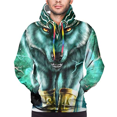 Mens Boys Fitted Drawstring Pullover Hoodie Hooded Sweatshirt Tunic Top Blouse for Cycling Hiking Sports, 3D Printed Hoodie With Front Pocket (Mountain And Northern Light Wolves Psychedelic Forest)