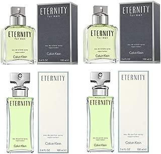 Bundle of 4 Calvin Klein Eternity for Men & Women: 100ML each