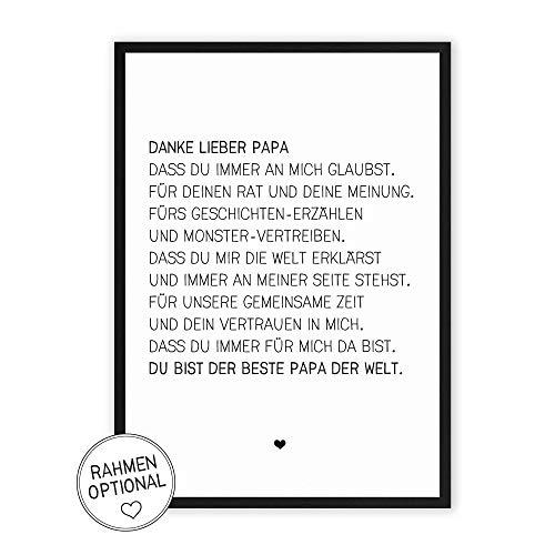 Danke lieber Papa - Kunstdruck auf wunderbarem Hahnemühle Papier DIN A4 -ohne Rahmen- schwarz-weißes Bild Poster zur Deko im Büro/Wohnung/als Geschenk Mitbringsel zum Geburtstag etc.