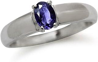 天然堇青石镀白金 925 纯银单颗戒指
