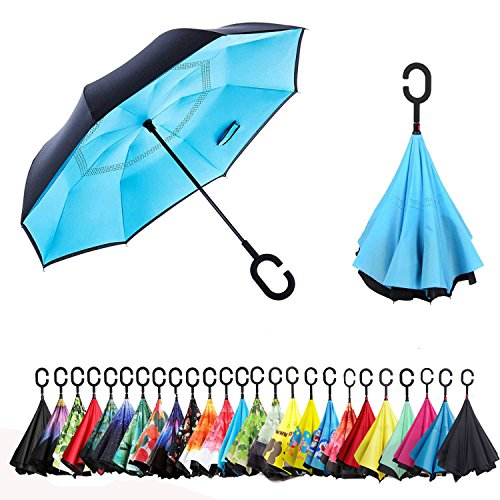 Sumeber Double Layer Reverse Regenschirm mit C Griff Schützen vor Sturm Wind Regen und UV-Strahlung Innovativer Regenschirm (Hellblau)