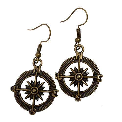 Steampunk Nautical Pirate Compass Earrings Pendant Charm Dangle in Antique Style Bronze