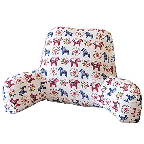 vctops Bohemian Printed Bed Rest Pillows Soft Stuffed Sitting Support Bed Pillow with Arms for Comfort While Reading and Relaxing Horse 58X40X25CM