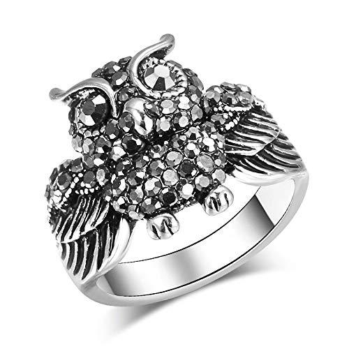 GMZWW Eulenring für Frauen Antik Silber Mosaik Bright Black Crystal Party Ring Vintage Schmuck 8 Antik Silber